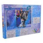 Frozen - Puzzle 100 piese + 3 foi A4 de colorat si 4 creioane colorate (FZ-XP01)