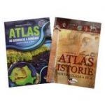 Set 2 atlase scolare pentru clasa a IV-a. Atlas de Geografie a Romaniei, Atlas de Istorie - Manuela Popescu