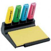 Textmarker Stabilo Boss, 4 buc/set + Post-it + suport birou