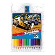 Creioane colorate jumbo Polly Pocket, 12 buc/cutie, cu ascutitoare