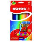 Creioane colorate Kores, triunghiulare, cu ascutitoare, 12 culori/cutie