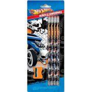 Set Hot Wheels format din 4 creioane cu radiera, cu print si ascutitoare