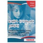 Limba si literatura romana Clasa a VI-a. Exercitii recapitulative pe unitati de invatare si subiecte de teza - Sofia Dobra