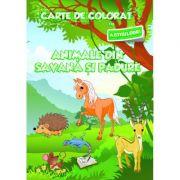Carte de colorat cu abtibilduri. Animale din Savana si din Padure