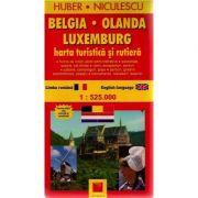 Belgia-Olanda-Luxemburg. Harta turistica si rutiera (Huber Kartographie)