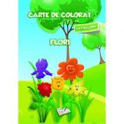 Carte de colorat cu abtibilduri. Flori