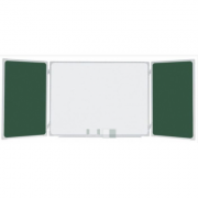 Tabla scolara triptica verde alba verde, metalo-ceramica magnetica, 1500x1200x3000mm (TSTAVE300)