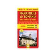 Manastirile din Romania. Harta turistica si rutiera (Huber Kartographie)