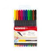 Fineliner Kores K-Liner 0. 4mm, 10 culori in etui plastic, asortate (KS28110)