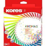 Creioane colorate Kores Kromas, triunghiulare, 3 mm, 24 culori/cutie (KS100315)
