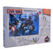 Captain America - Puzzle 100 piese + 3 foi A4 de colorat si 4 creioane colorate (AM-XP01)