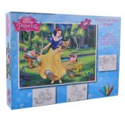 Princess - Puzzle 100 piese + 3 foi A4 de colorat si 4 creioane colorate (PS-XP01)