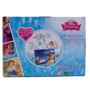 Princess - Puzzle 3 in 1 + 3 foi A4 de colorat si 4 creioane colorate (PS-XP04)