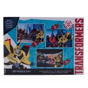 Transformers - Puzzle 3 in 1 + 3 foi A4 de colorat si 4 creioane colorate(TF-XP04)