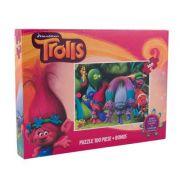 Trolls - Puzzle 100 piese + 3 foi A4 de colorat si 4 creioane colorate (TR-XP01)