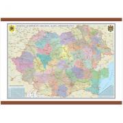 Romania si Republica Moldova. Harta administrativa 100 x 70 cm sipci din MDF (DLFGHR4CD1)