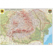 Romania si Republica Moldova. Harta fizica, administrativa si a substantelor minerale utile 300x240 cm (DLFGHRCDG)