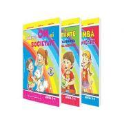 Set de 3 caiete pentru gradinita, nivel 3-4 ani. Domeniul, limba si comunicare, Stiinte (Activitate Matematica, Cunoasterea Mediului), Om si societate