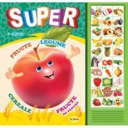 Carte cu sunete. Super fructe, legume, cereale, fructe de padure (Romana si Engleza)