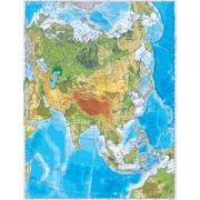 Asia. Harta fizica (fata)/Harta de contur (verso) 500x350 mm