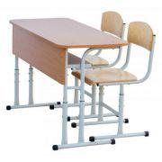 Mobilier scolar dublu cu inaltime reglabil. Set compus din 1 banca si 2 scaune (reglabile pe inaltime) DLFKR