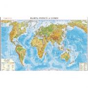 Harta fizica a lumii /Harta de contur (verso), 500x350 mm, fara sipci (DLFLGHR3)