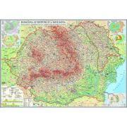 Romania si Republica Moldova. Harta fizica, administrativa si a substantelor minerale utile 2000x1400 mm (GHR2CD2)