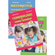 Set de 3 caiete ( 2018 ) pentru clasa pregatitoare (Domenii: Comunicare in Limba Romana, Dezvoltare personala, Matematica si explorarea mediului)