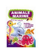Animale marine. Carte de colorat. Invatam... sa coloram, exercitii grafice, engleza