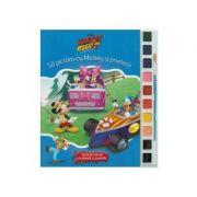 Sa pictam cu Mickey si prietenii - Carte de colorat cu pensula si acuarele