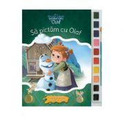 Sa pictam cu Olaf - Carte de colorat cu pensula si acuarele
