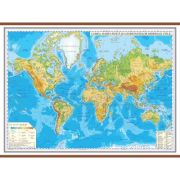 Harta fizica a lumii cu sipci 2000x1400 mm (GHL3F)