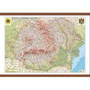Romania si Republica Moldova. Harta fizica, administrativa si a substantelor minerale utile Format - 1600x1200 mm - GHRF160