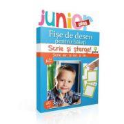 Scrie si sterge! Junior Plus - Fise de desen pentru baieti
