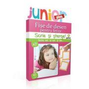 Scrie si sterge! Junior Plus - Fise de desen pentru fetite