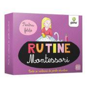 Rutina zilnica. Montessori pentru fetite. Cartoane de perete educative si decorative