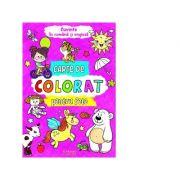 Carte de colorat pentru fete. Cuvinte in romana si engleza