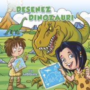 Desenez dinozauri – cu sabloane (carte de colorat)