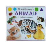 Sa invatam despre animale. Set educativ cu puzzle