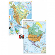 America de Nord. Harta fizico-geografică si a principalelor resurse naturale de subsol si America de Nord. Harta politica – Duo Plus ( CR-3113DPA120x160 cm)