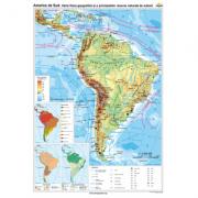 America de Sud. Harta fizico-geografica si a principalelor resurse naturale de subsol (CR-3114A-120x160 cm)