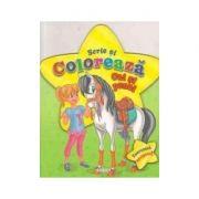 Scrie si coloreaza cai si ponei - verde