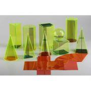 Set 10 corpuri geometrice transparente, din plastic rezistent