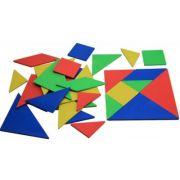Set Tangram (4 culori, 28 piese) - din lemn reciclat