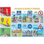Culorile si semnele vorbesc/Comporta-te civilizat (DUO) - Plansa cu 2 teme distinct
