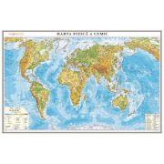 Harta fizica a lumii /Harta de contur (verso), 600x470 mm (GHLF60)