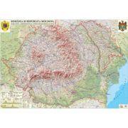 Romania si Republica Moldova. Harta fizica, administrativa si a substantelor minerale utile /Harta de contur (verso), 500x350 mm, fara sipci (LGHR2-INT)