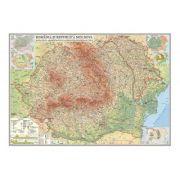 Romania si Republica Moldova. Harta, fizica, administrativa si a substantelor minerale utile /Harta de contur (verso), 600x470mm, fara sipci (GHRF60)