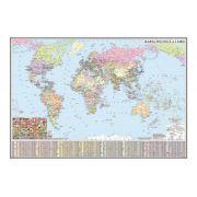 Harta politica a lumii/Harta de contur (verso), 500x350 mm (GHLP50)