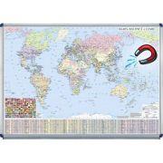 Harta politica a lumii 700x500mm - Harta magnetica pe suport rigid (GHLP70-OM)